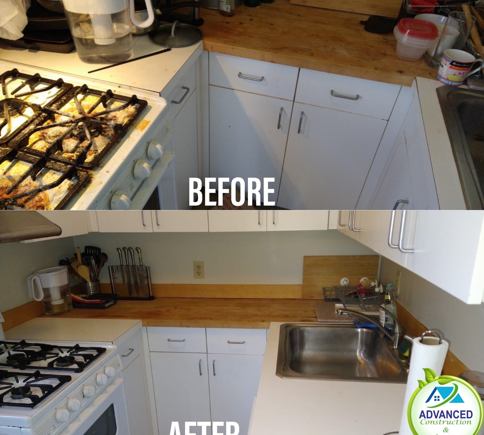 Cleaning before and after