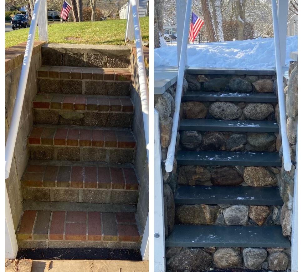 Refacing retaining wall