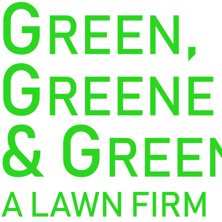 Green, Greene, and Greener logo