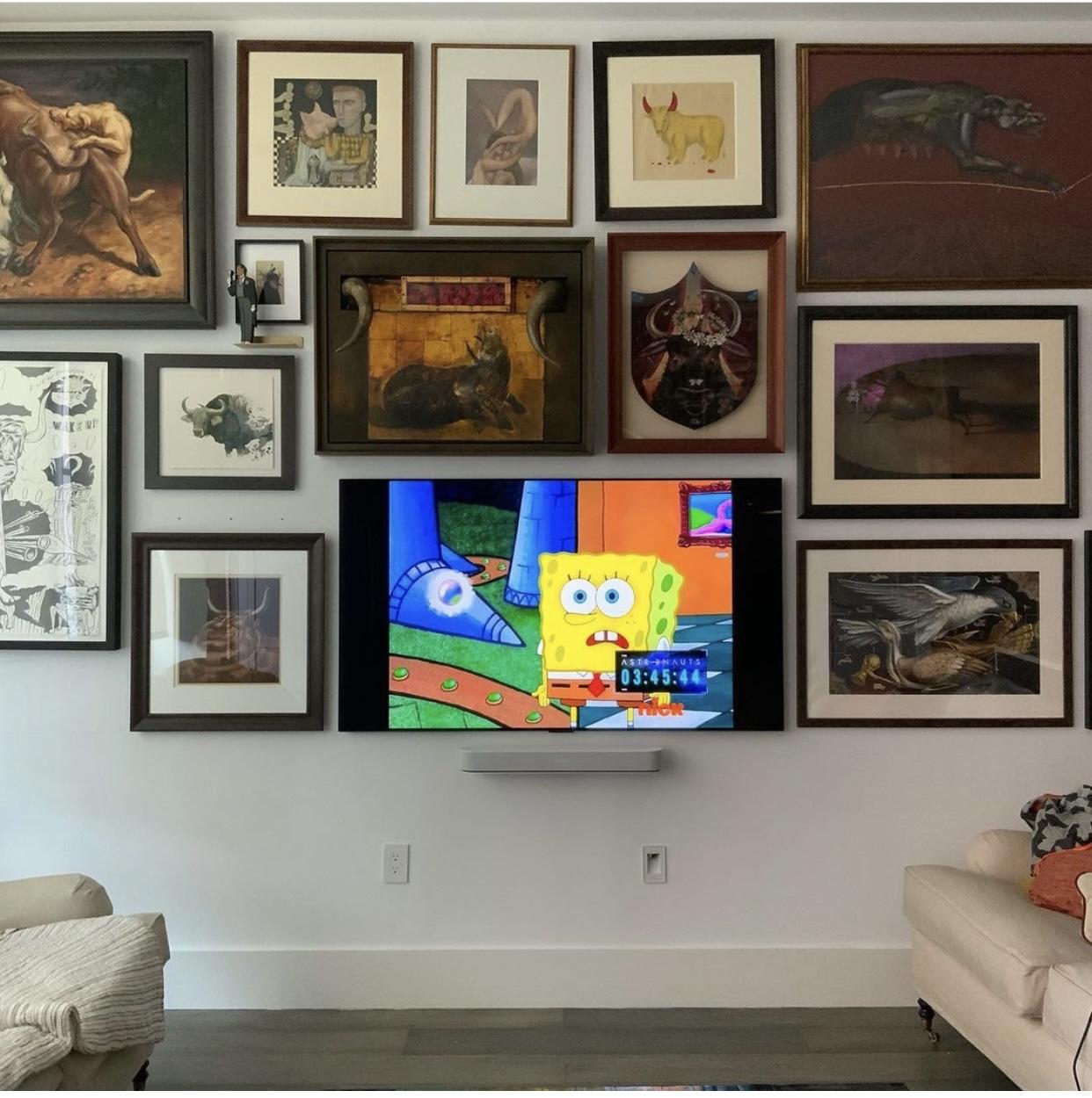 TV installation and surround sound system